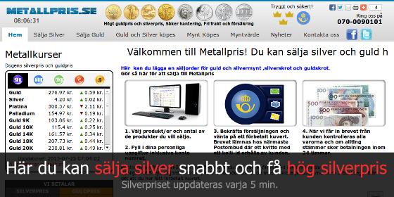 sälja silver pris per gram